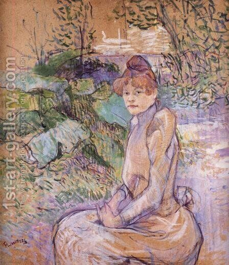 Woman in Monsieur Forest's Garden by Toulouse-Lautrec - Reproduction Oil Painting