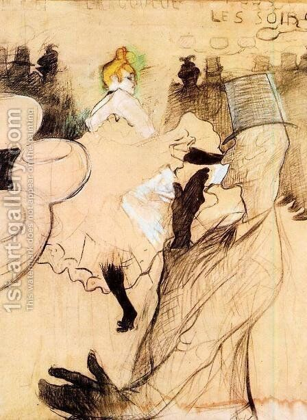 Le Goulue and Valentin, the 'Boneless One' by Toulouse-Lautrec - Reproduction Oil Painting