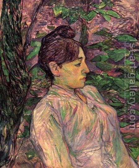 Woman Seated in a Garden by Toulouse-Lautrec - Reproduction Oil Painting