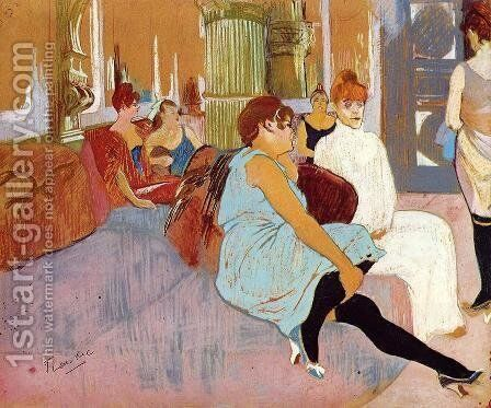 The Salon in the Rue des Moulins I by Toulouse-Lautrec - Reproduction Oil Painting