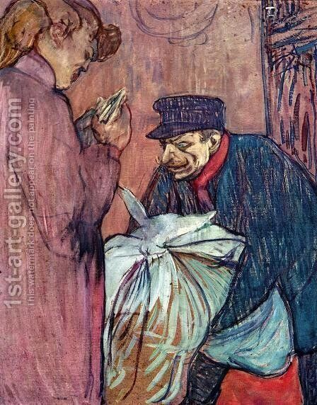 The Laundryman Calling at the Brothal by Toulouse-Lautrec - Reproduction Oil Painting