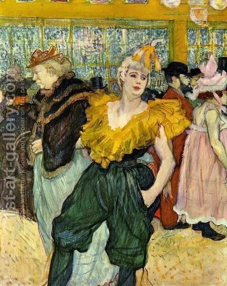 At the Moulin Rouge: The Clowness Cha-U-Kao by Toulouse-Lautrec - Reproduction Oil Painting