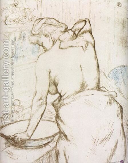 Elles: Woman at Her Toilette, Washing Herself by Toulouse-Lautrec - Reproduction Oil Painting