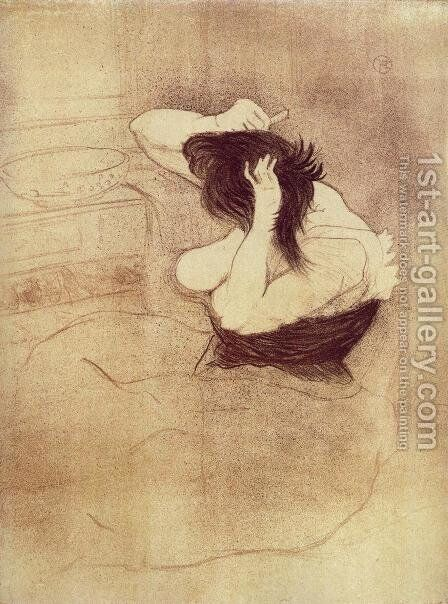 Elles: Woman Combing Her Hair by Toulouse-Lautrec - Reproduction Oil Painting