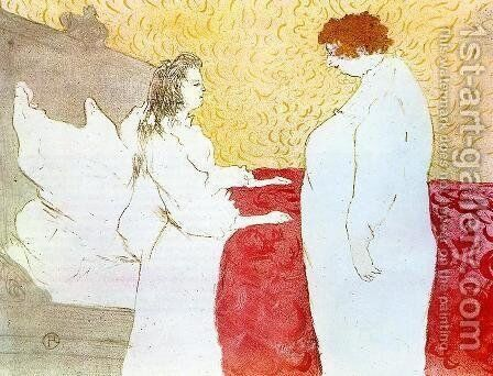 Elles: Woman in Bed, Profile, Getting Up by Toulouse-Lautrec - Reproduction Oil Painting