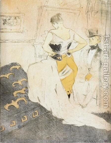 Elles: Woman Fastening a Corset, Passing Conquest by Toulouse-Lautrec - Reproduction Oil Painting