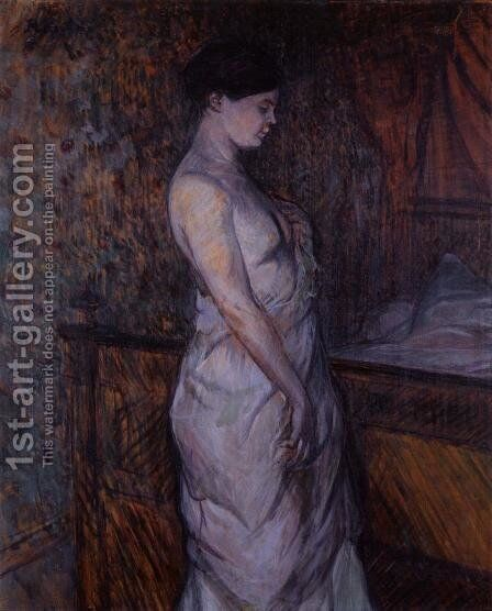 Woman in a Chemise Standing by a Bed by Toulouse-Lautrec - Reproduction Oil Painting
