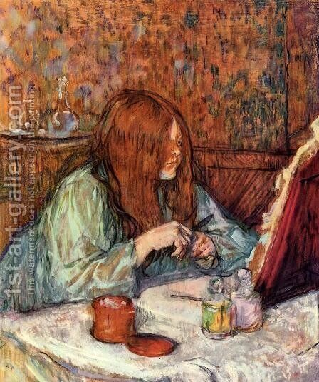 Woman at Her Toilette: Madame Poupoule by Toulouse-Lautrec - Reproduction Oil Painting