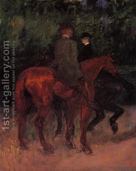 Man and Woman Riding through the Woods by Toulouse-Lautrec - Reproduction Oil Painting