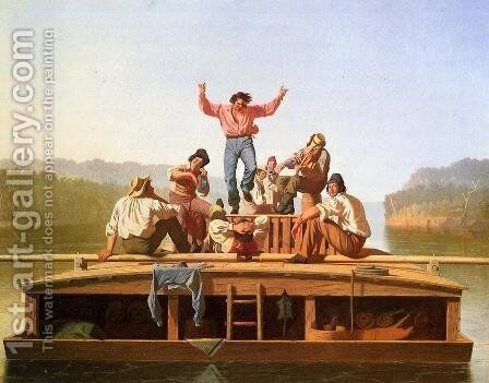 The Jolly Flatboatmen by George Caleb Bingham - Reproduction Oil Painting