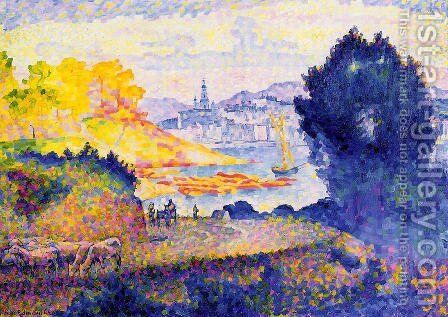 View of Menton by Henri Edmond Cross - Reproduction Oil Painting