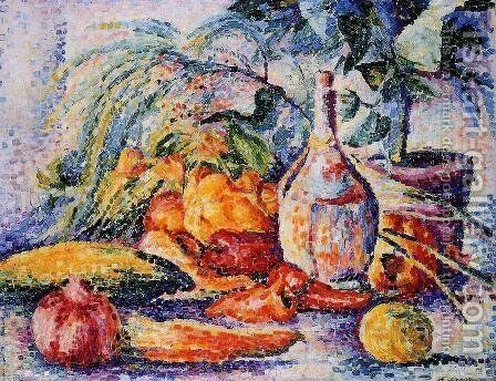 Still Life with Bottle of Wind by Henri Edmond Cross - Reproduction Oil Painting