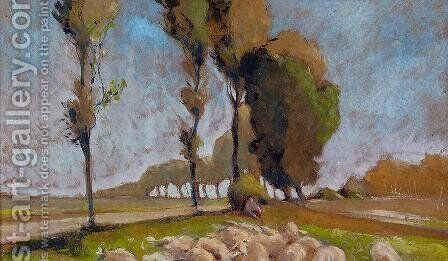 Shepherd and Sheep by Henri Edmond Cross - Reproduction Oil Painting