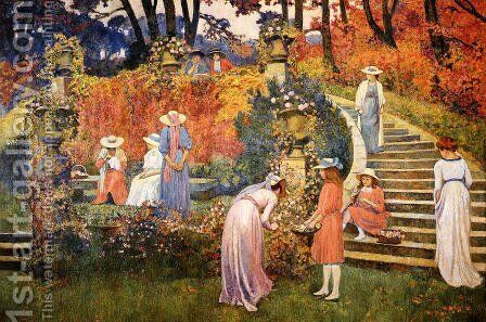 The Garden of Felicien Rops at Essone by Theo van Rysselberghe - Reproduction Oil Painting