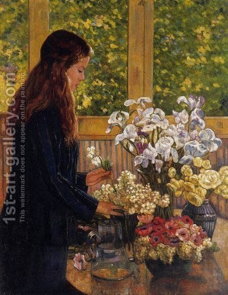 Young Girl with a Vase of Flowers by Theo van Rysselberghe - Reproduction Oil Painting