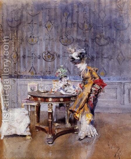 The Letter by Giovanni Boldini - Reproduction Oil Painting