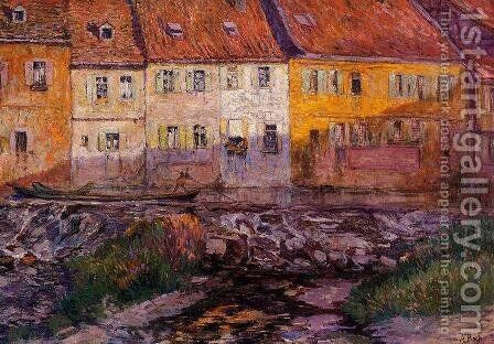 Pink and Yellow Houses by Anna Boch - Reproduction Oil Painting