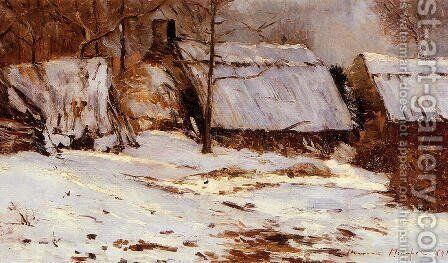 Cottages in the Snow by Maxime Maufra - Reproduction Oil Painting