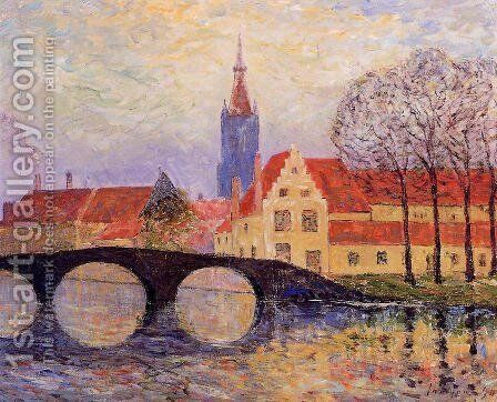 The Leguenay Bridge, Bruges by Maxime Maufra - Reproduction Oil Painting
