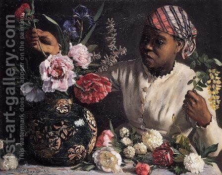 African Woman with Peonies by Jean Frédéric Bazille - Reproduction Oil Painting