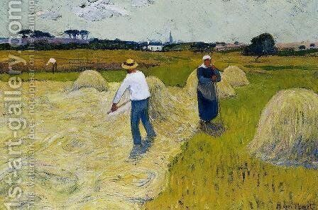 Haymaking by Henri Moret - Reproduction Oil Painting