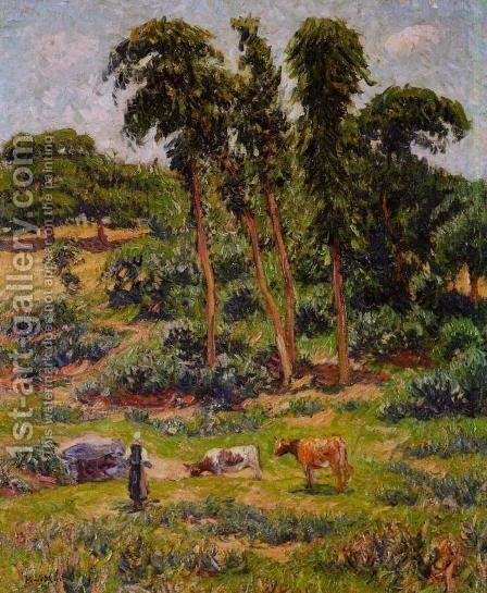 Peasant and Her Herd by Henri Moret - Reproduction Oil Painting
