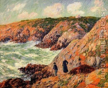 Cliffs of Moellan, Finistere by Henri Moret - Reproduction Oil Painting