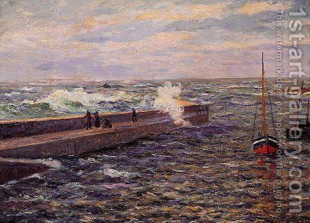 The Jetty at Pontivy, Morbihan by Maxime Maufra - Reproduction Oil Painting
