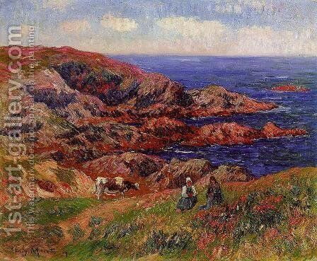 Cliffs at Kerserol, Finistere by Henri Moret - Reproduction Oil Painting