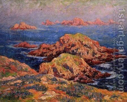 The Red Rocks at Ouessant by Henri Moret - Reproduction Oil Painting