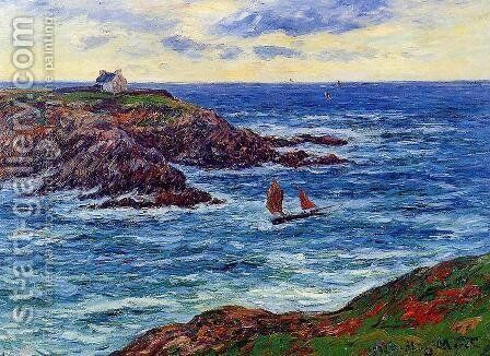 Sailboats off the Coast of Douelian by Henri Moret - Reproduction Oil Painting