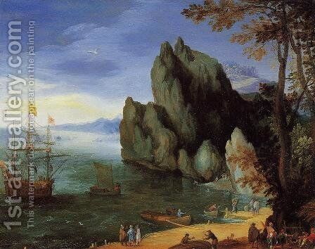 Bay with Ship of War by Jan The Elder Brueghel - Reproduction Oil Painting
