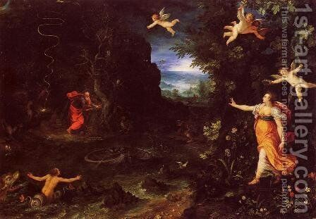 Circe and Ulysses by Jan The Elder Brueghel - Reproduction Oil Painting