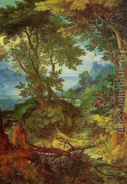 Mountain Landscape with the Temptation of Christ by Jan The Elder Brueghel - Reproduction Oil Painting