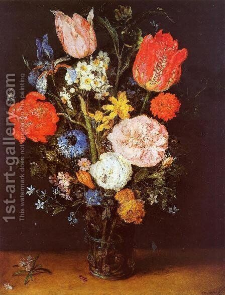 Flowers in a Glass Vase by Jan The Elder Brueghel - Reproduction Oil Painting