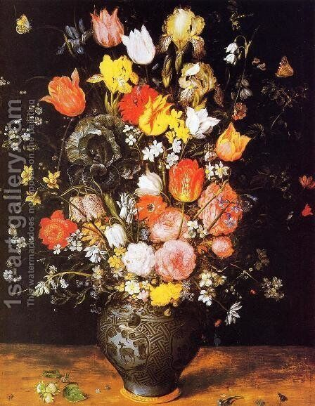 Bouquet of Flowers in a Blue Vase by Jan The Elder Brueghel - Reproduction Oil Painting
