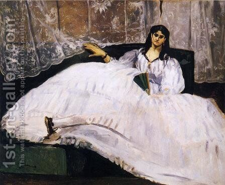 Baudelaire's Mistress, Reclining by Edouard Manet - Reproduction Oil Painting