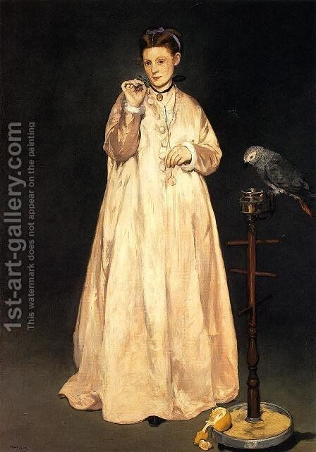 Young Lady with a Parrot by Edouard Manet - Reproduction Oil Painting