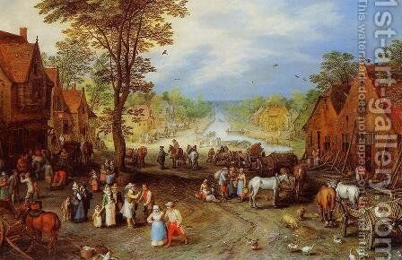 Village Street with Canal by Jan The Elder Brueghel - Reproduction Oil Painting