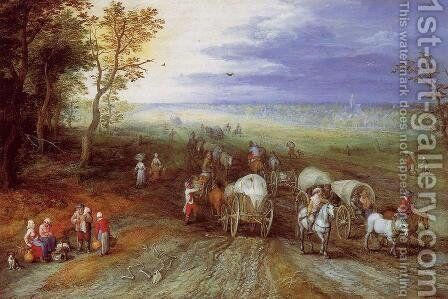 Immense Landscape with Travellers by Jan The Elder Brueghel - Reproduction Oil Painting