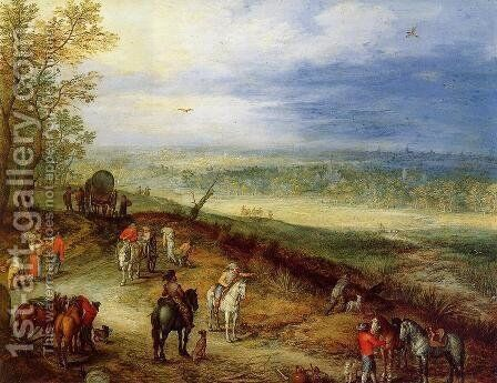 Immense Landscape with Travellers I by Jan The Elder Brueghel - Reproduction Oil Painting