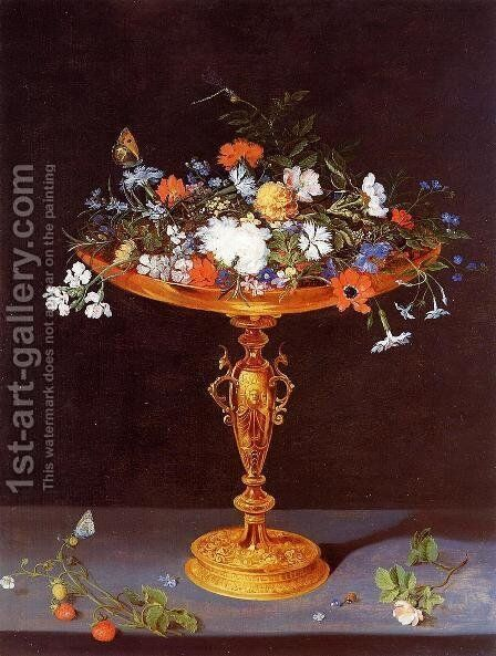 Tazza with Flowers by Jan The Elder Brueghel - Reproduction Oil Painting