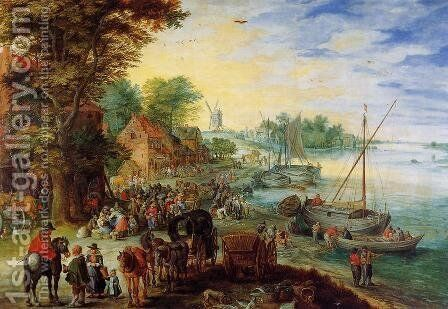 Fish Market on the Banks of the River by Jan The Elder Brueghel - Reproduction Oil Painting