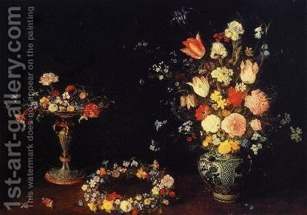 Still Life with a Tazza, Garland and Bouquet of Flowers in a Porcelain Vase by Jan The Elder Brueghel - Reproduction Oil Painting
