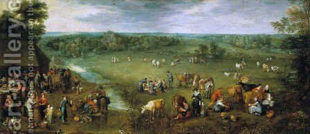 Flemish Dairy Farm by Jan The Elder Brueghel - Reproduction Oil Painting