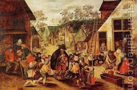 The Organ Grinder by Pieter the Elder Bruegel - Reproduction Oil Painting