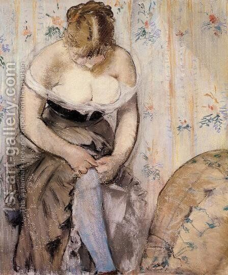 Woman Fastening Her Garter by Edouard Manet - Reproduction Oil Painting