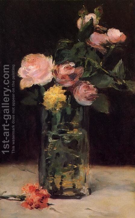 Roses in a Glass Vase by Edouard Manet - Reproduction Oil Painting