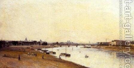 The Pont National as Seen from Quai d'Ivry, Paris by Stanislas Lepine - Reproduction Oil Painting
