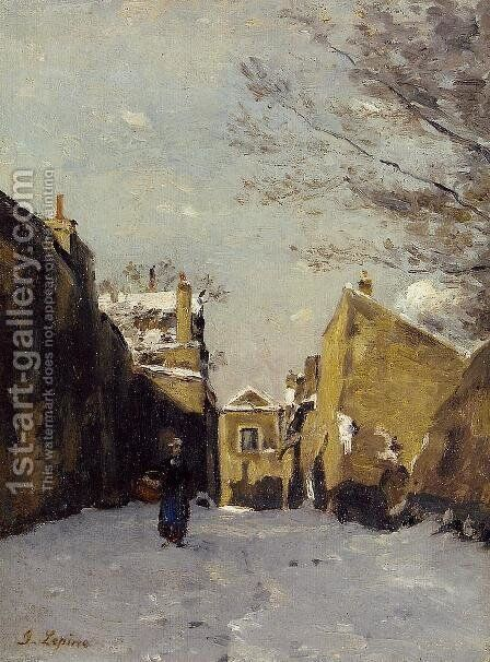 Street in Montmartre, Snow Effect by Stanislas Lepine - Reproduction Oil Painting